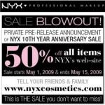 NYX 50% Sale!