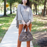 Lookbook: Metallic Poncho & Skinny Twill Pants