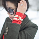 Xmas in January: Zara Red Turtleneck & Loft Green Blazer