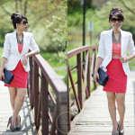 Simple: Coloblock Dress & White Blazer