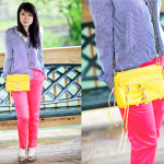 A Rainy Day: Striped Blouse & Hot Pink Pants