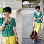 One Bright Colored Jeans with Two Looks