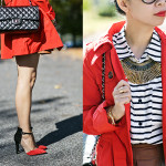 Autumn Brights: Candy-Apple Red Trench & Pleather Skirt