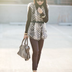 Cozy: Printed Faux Fur Vest & Coated Jeans