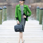 Lucky Charm: Green & Black/White Stripes