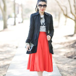 Bonjour: Striped Sweater & Midi Circle Skirt