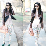 Coming Up Roses – Layered Leather & Printed Jeans