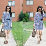 Summer to Fall Transition | Navy & Blush Pink Floral Dress