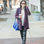 World Traveler: Open Draped Coat + Layers + OTK Boots