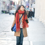 SoHo Winter | Camel Coat & Orange Scarf