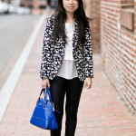 B&W | Floral Printed Blazer & Cut-out Pumps