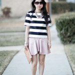 Spring Flirt | Bold Stripes + Pleather Ruffled Skirt