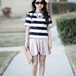 Spring Flirt | Bold Stripes + Pleather Ruffled Skirt