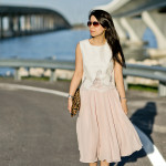 Airy | Leather Lace Top + Swooshy Calf-Length Skirt