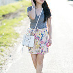 Casual Getaway | Grey Tee + Floral Skirt