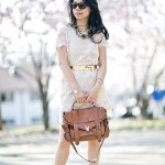 DC Cherry Blossoms | Lace Shift Dress + Neutral Details