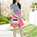 Garden Stroll | B&W Stripe Top + Hot Pink Scuba Skirt