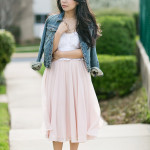 Take Two | Eyelet Crop Top + Calf-Length Skirt