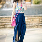 Feeling Tropical | Leafy Crop Top + Chiffon Palazzo Pants