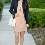 Workwear Wednesday | Navy Blazer + Peachy Flutter Sleeve Dress