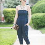 Girl's Night Out | Navy Jumpsuit + Leopard