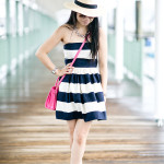 Sail Away | Navy Bold Striped Summer Dress + Pink Accents
