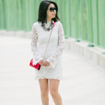 Summer to Fall | White Lace Dress + Red Accent Details