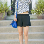 Black & Blue | Cropped Striped Top + Lace Shorts
