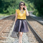 Fall Colors | Marigold Yellow Blouse + Purple Pleather Skirt