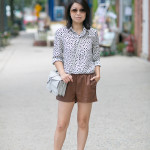 Fall Casual | Printed Blouse + Pleather Shorts