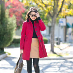 Autumn Colors | Workwear Wednesday | Red Coat + Camel Skirt