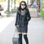 Black Cat | Faux Fur Vest + Pleather Dress