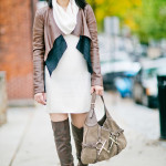Cozy for Autumn | Sweater Dress + Drapey Leather Jacket
