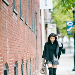 Monotone in Autumn | Black Cape + Thigh High Boots
