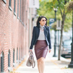 Fall Workwear Wednesday | Navy Blazer + Burgundy Pleather Pencil Skirt