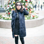 Holly Jolly | Black Boots + Blue Vest