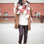 Winter Cozy | Drapey Wool Cape + Eggplant Coated Jeans