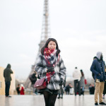 Bonjour Paris | Grey Sweater + Black Pleather Skirt + Pops of Red