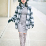 Shades of Grey | Ombré Plaid Coat + Suede OTK Boots