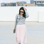 Bonjour | Grey Sweater + Blush Pink Midi Skirt