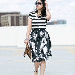 Mixed Prints | Black & White Striped Top + Abstract Print Skirt