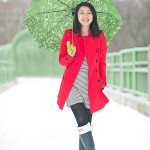 Rainy Day   Striped Dress + Red Trench