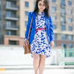 Wednesday Workwear | Cobalt Blue Print Dress + Red Accent