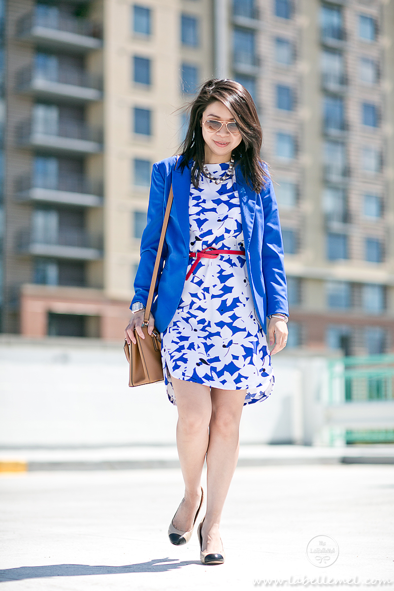 LaBelleMel_Wednesday_Workwear_Cobalt_Blue_Print_Dress_Red_Accent_1