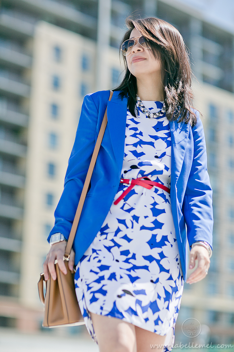 LaBelleMel_Wednesday_Workwear_Cobalt_Blue_Print_Dress_Red_Accent_3