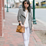 Spring Casual | White on White + Military Green Parka
