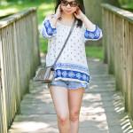 Summer Casual | Boho Top + Cutoff Shorts