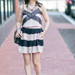 Summer Romance | Black & Blush Lace Cami + Bold Stripe Skirt