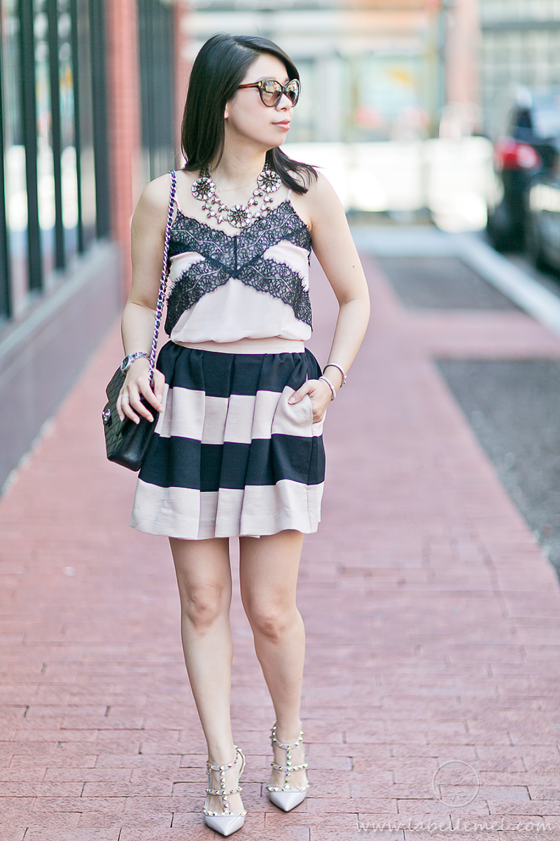 LaBelleMel_Summer_Romance_Black_Blush_Lace_Cami_Bold_Striped_Skirt_1