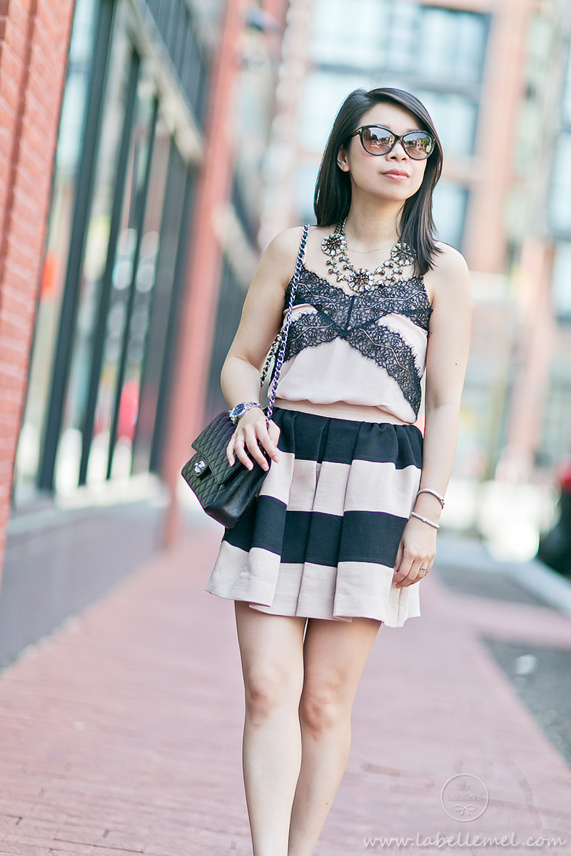 LaBelleMel_Summer_Romance_Black_Blush_Lace_Cami_Bold_Striped_Skirt_2